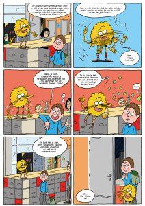 Pagina uit een stripboek over de brugklas voor RSG 't Rijks